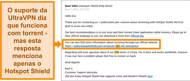 Captura de tela de uma resposta por e-mail do suporte técnico do Hotspot Shield sobre torrent e uso na China