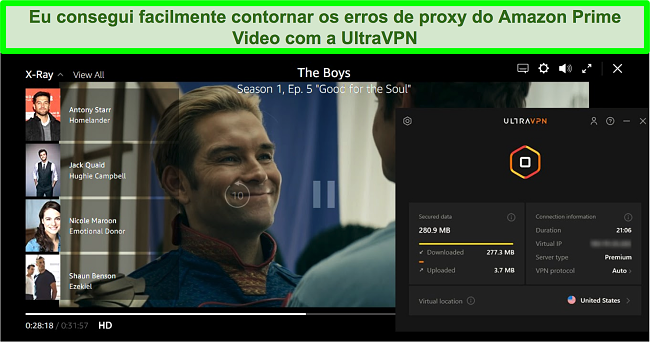 Captura de tela de The Boys no Amazon Prime Video enquanto UltraVPN está conectado a um servidor nos EUA