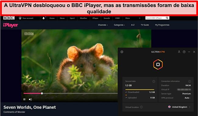 Captura de tela do BBC iPlayer desbloqueado pelo servidor UltraVNc no Reino Unido