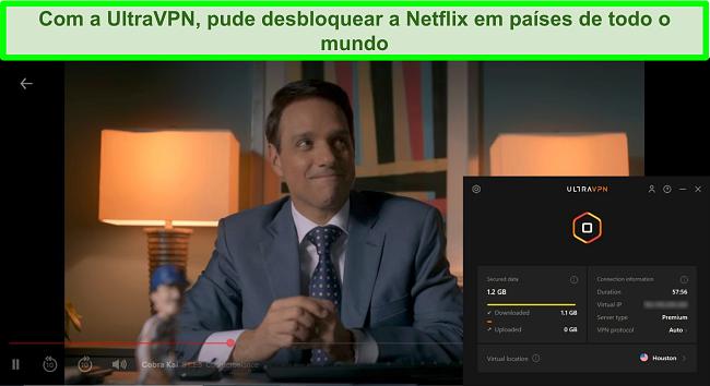 Captura de tela do Cobra Kai jogando no Netflix enquanto o UltraVPN está conectado a um servidor em Houston