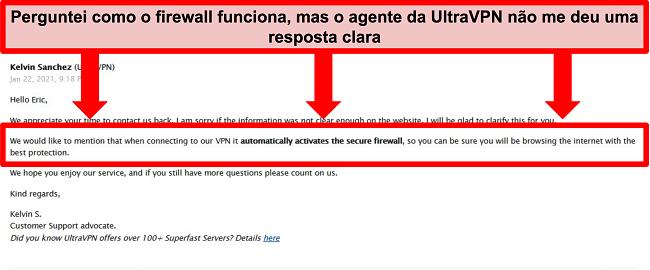 Captura de tela de um e-mail do suporte técnico UltraVPN