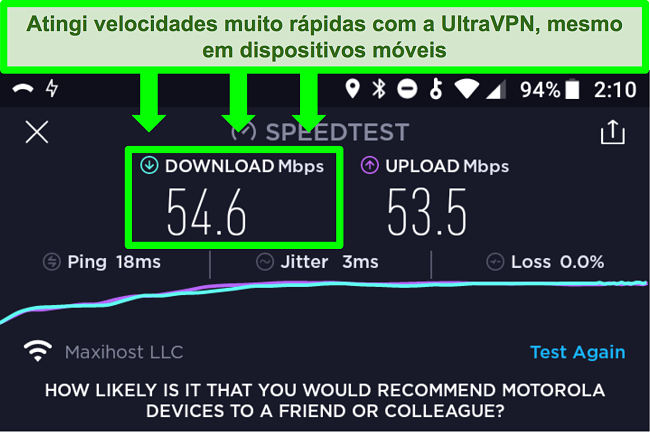 Captura de tela de um teste de velocidade de conexão enquanto o UltraVPN está conectado em um dispositivo Android
