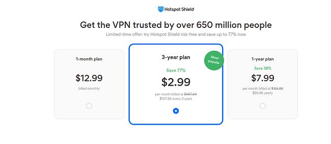 Ценови план HotSpotShield