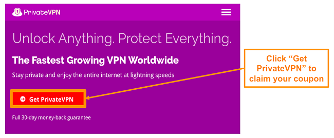 Screenshot of PrivateVPN's home screen with a