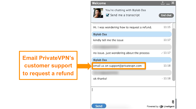 Screenshot of a PrivateVPN live chat agent providing instructions to send a refund request through email