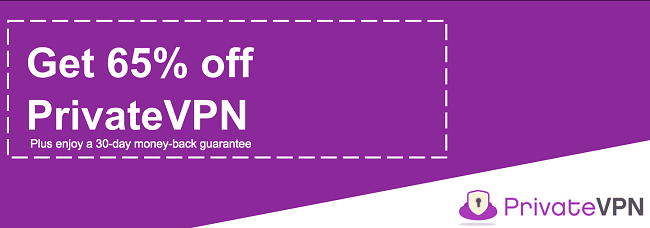 Graphic of a working PrivateVPN coupon offering a 65% discount with a 30-day money-back guarantee