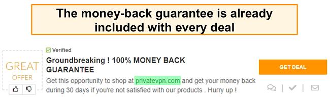 Screenshot of a PrivateVPN coupon advertising a money-back guarantee as a