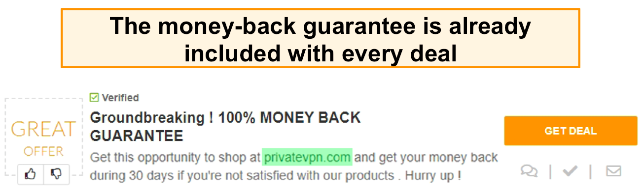 Screenshot of a PrivateVPN coupon advertising a money-back guarantee as a