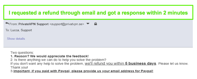 Screenshot of PrivateVPN quickly responding to my refund request through email