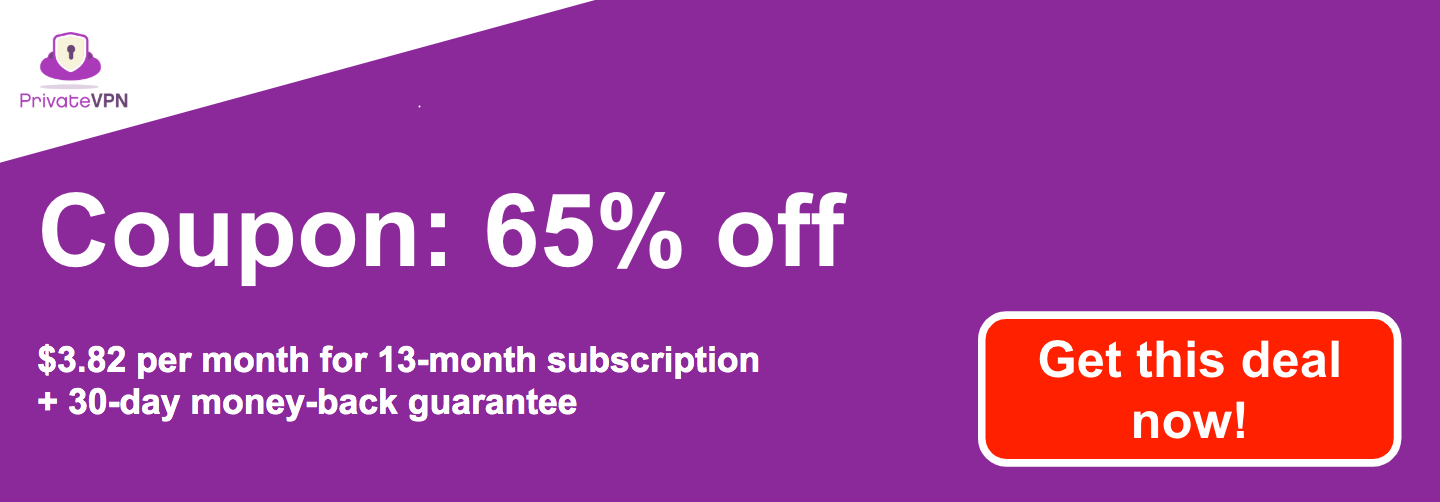 Graphic of a working PrivateVPN coupon with 65% off a 13-month subscription and a 30-day money-back guarantee