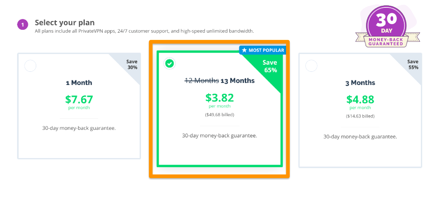 Screenshot of choosina payment plan