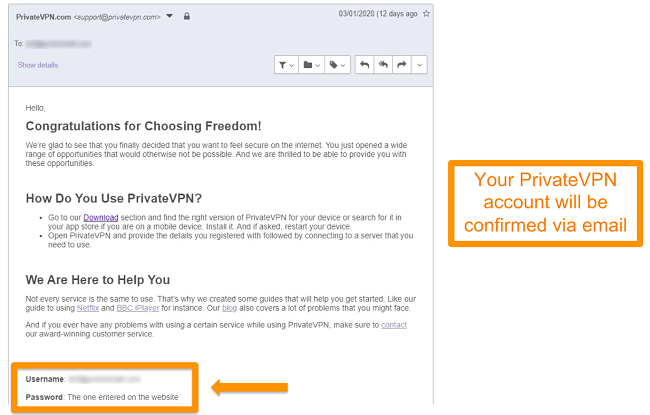 Screenshot of a PrivateVPN email confirmation after signing up for an account