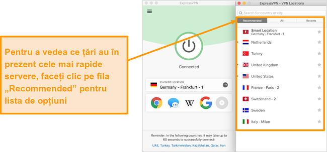 Captură de ecran a aplicației ExpressVPN care prezintă serverele recomandate