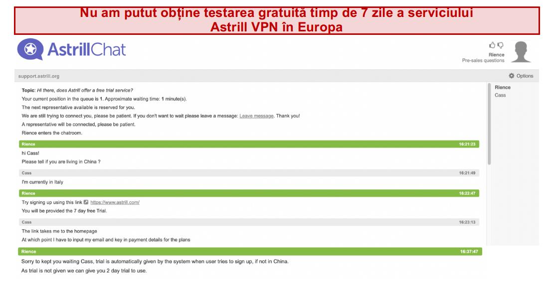 captură de ecran a conversației cu echipa de asistență Astrill VPN în care nu este oferită o perioadă de încercare gratuită de 7 zile, chiar dacă utilizatorul are sediul în Europa