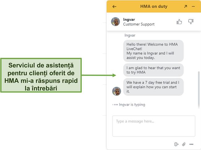 Captură de ecran a chatului live de asistență pentru clienți HMA