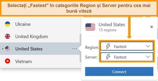 Captură de ecran a opțiunilor serverului NordVPN pentru SUA care arată cea mai rapidă regiune și server