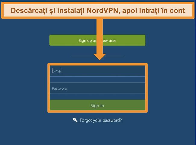 Captură de ecran a ecranului de conectare din aplicația NordVPN pentru Windows