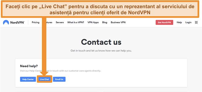 Captură de ecran a paginii NordVPN Contactați-ne afișând butonul Live Chat