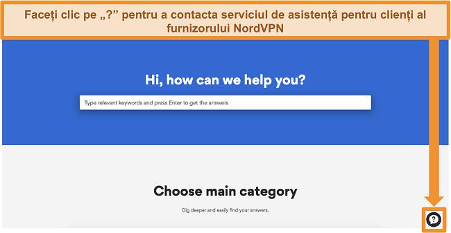 Captură de ecran a paginii de ajutor a NordVPN cu butonul de asistență din partea de jos