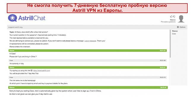 скриншот разговора со службой поддержки Astrill VPN, где 7-дневный бесплатный пробный период не гарантируется, даже если пользователь находится в Европе