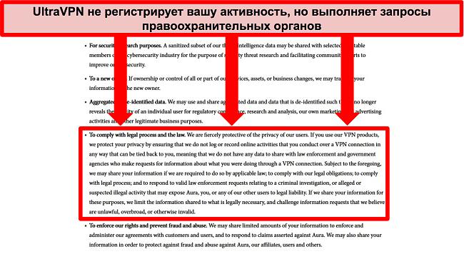 Снимок экрана с политикой конфиденциальности UltraVPN