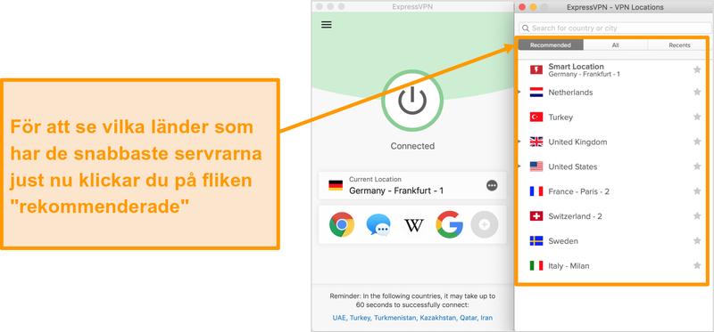 Skärmdump av ExpressVPN-appen som visar rekommenderade servrar