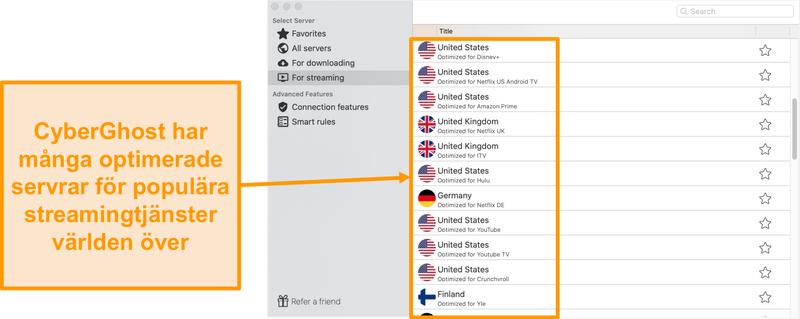 Skärmdump av CyberGhost-appen för Mac som visar de optimerade servrarna för streaming