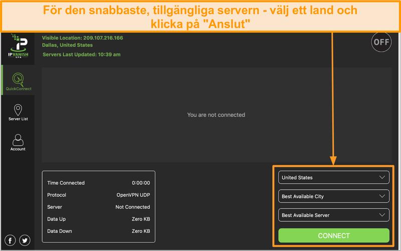 Skärmdump av IPVanish-appgränssnittet och avsnittet