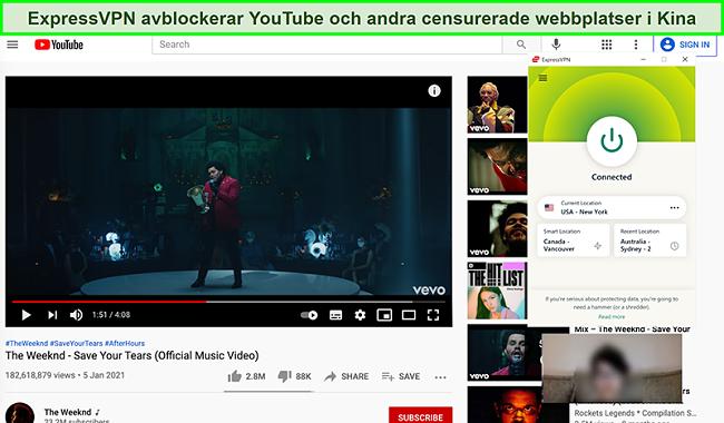 Skärmdump av ExpressVPN ansluten till en amerikansk server och blockering av YouTube i Kina