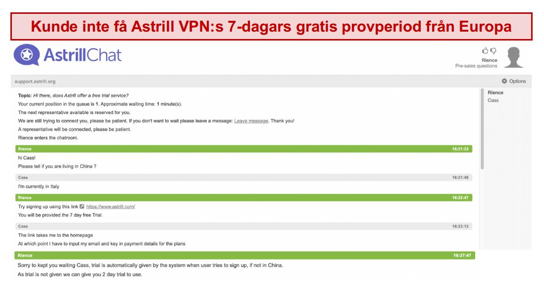 skärmdump av samtalet med Astrill VPN-supportteam, där den 7-dagars kostnadsfria provperioden inte garanteras även om användaren är i Europa