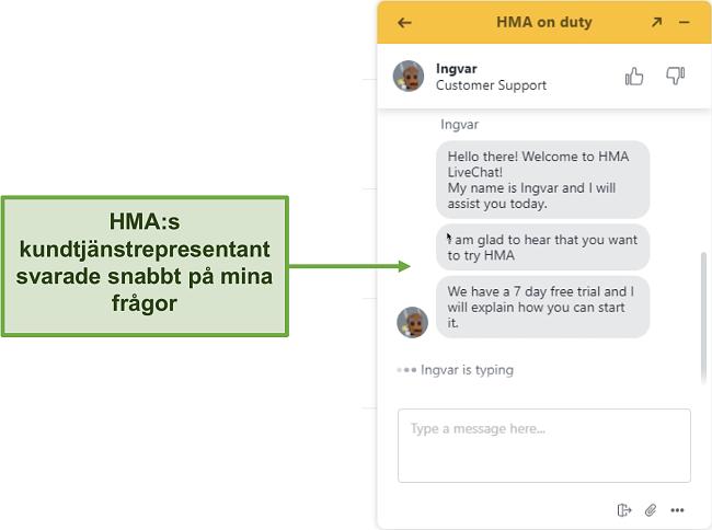 Skärmdump av HMA: s kundsupport live chat