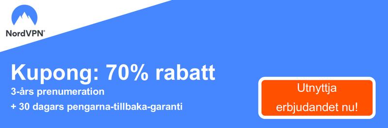 Grafik av en fungerande NordVPN kupong som erbjuder en 70% rabatt för en 3-årig prenumeration och en 30 dagars pengarna-tillbaka-garanti