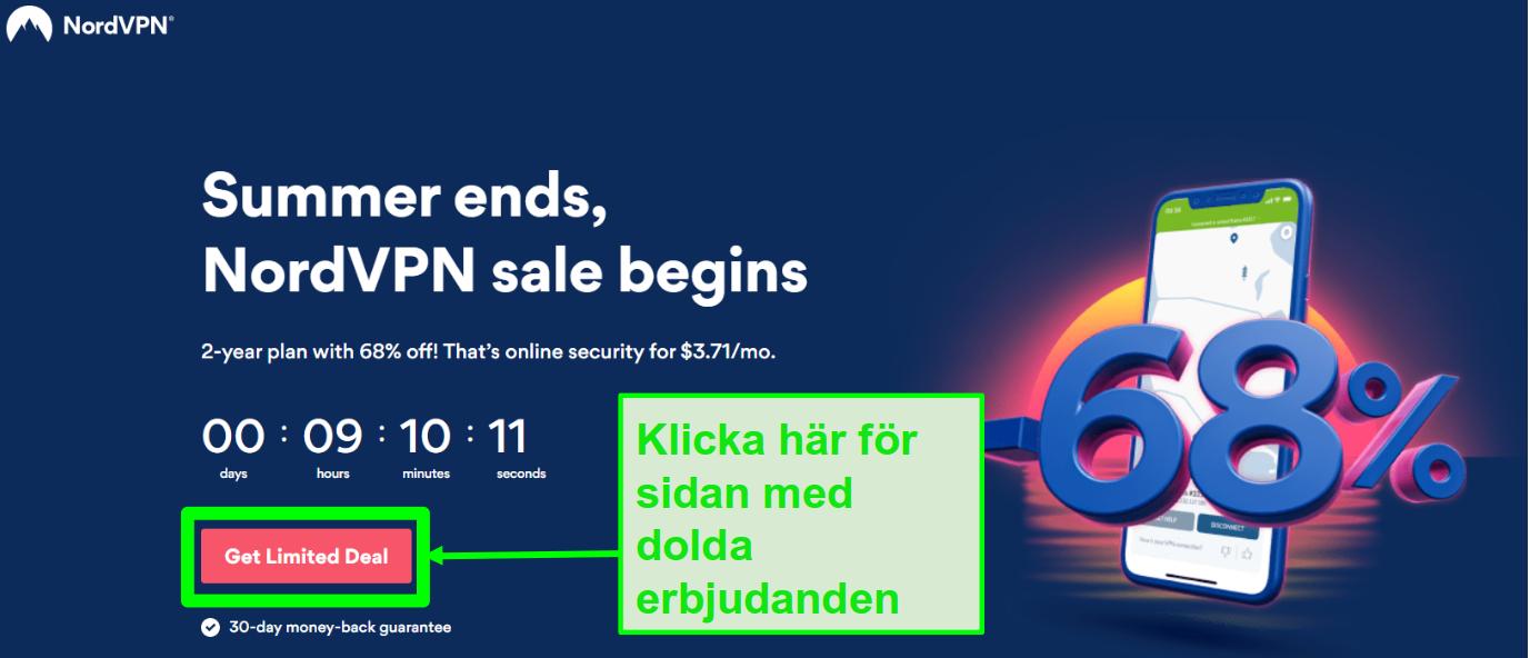 Skärmdump av sidan för dolda erbjudanden från NordVPN
