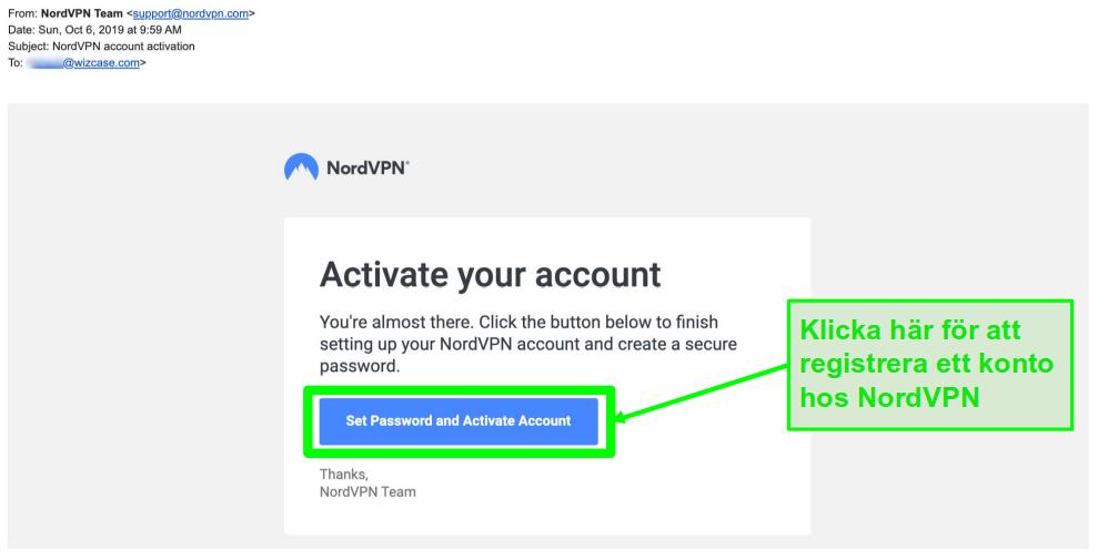 Skärmdump av e-post med aktivering av NordVPN-konto