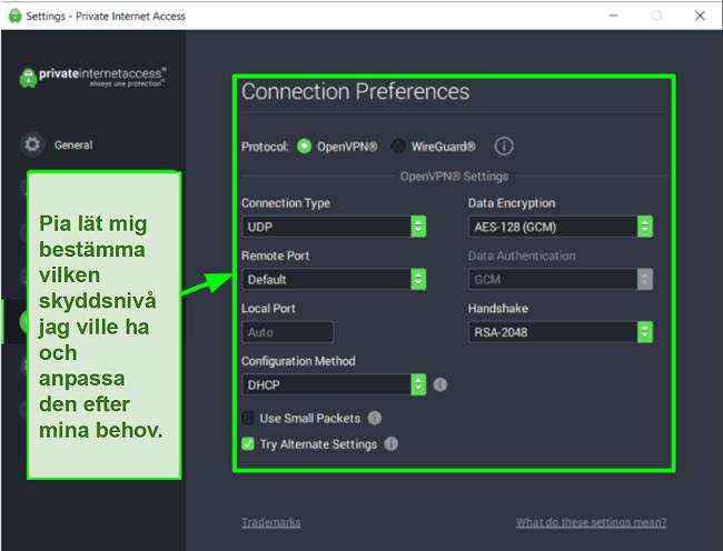 Skärmdump av tillgängliga PIA-säkerhetsinställningar