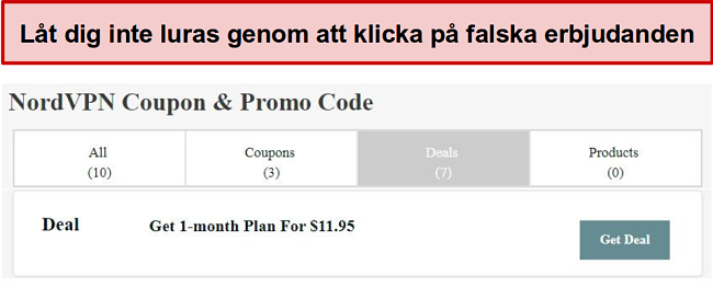 En webbplats som visar en falsk rabattuppgift på NordVPN