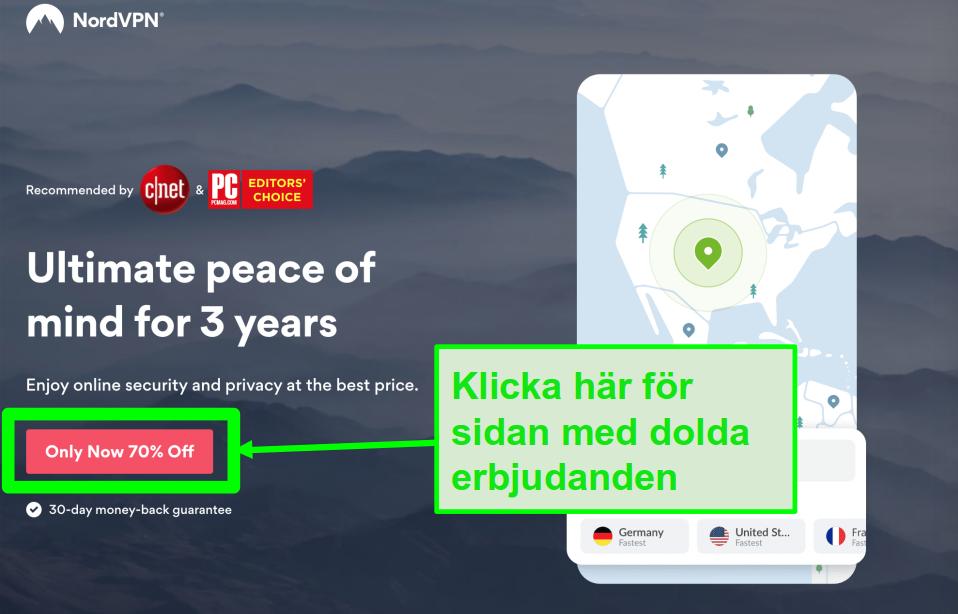 Skärmdump av NordVPNs dolda erbjudanden-sida
