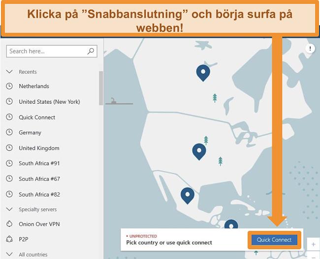 Skärmdump av NordVPNs startskärm