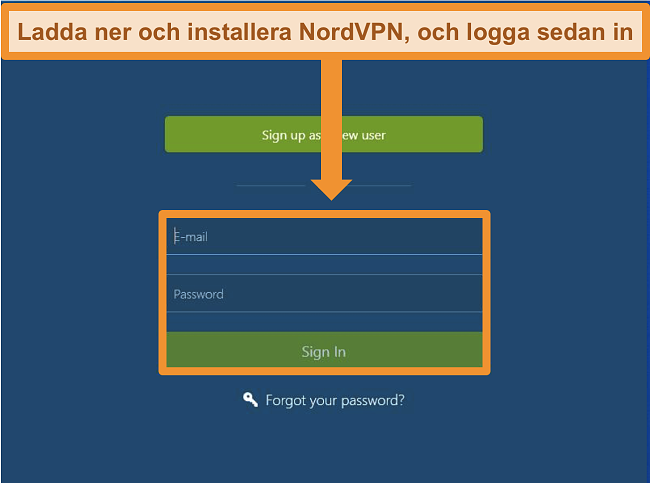 Skärmdump av inloggningsskärmen i NordVPN Windows-appen