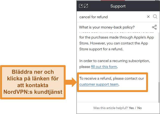 Skärmdump av NordVPN-chattboten som svarar på återbetalningsfrågan