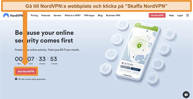Skärmdump av NordVPNs hemsida