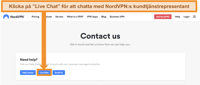 Skärmdump av NordVPN Kontakta oss-sidan som visar Live Chat-knappen