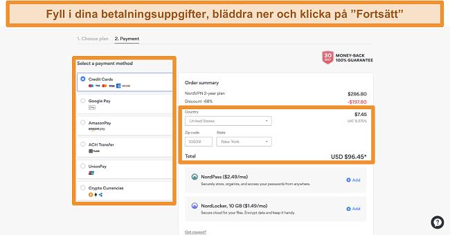 Skärmdump av NordVPN: s betalningsalternativ
