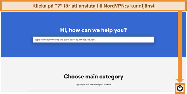 Skärmdump av NordVPNs hjälpsida med supportknappen längst ner