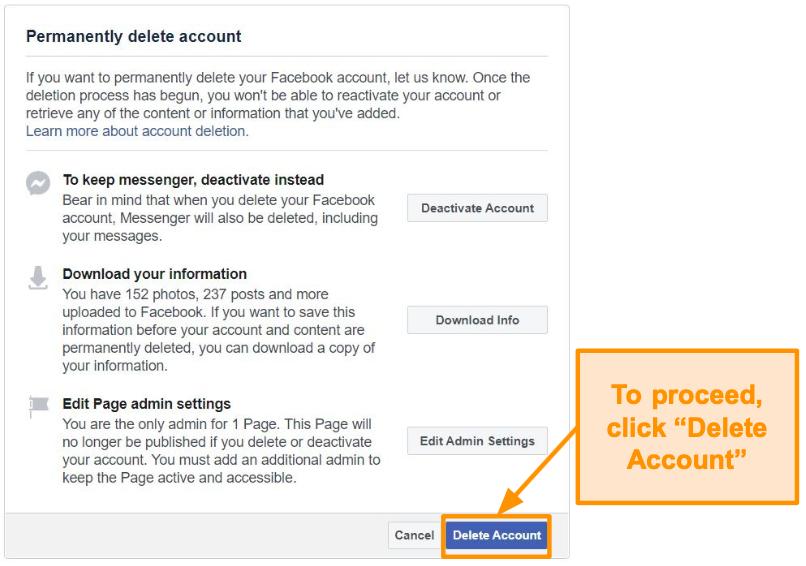 Screenshot of deleting Facebook account