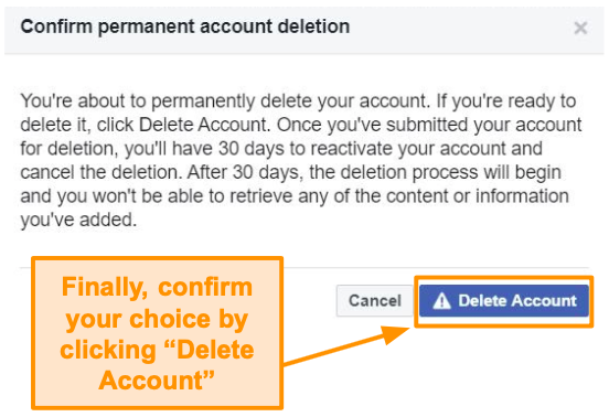 Screenshot of confirming account deletion