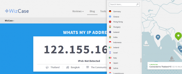 Get Thai IP address NordVPN