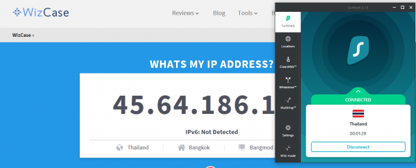 Get Thai IP address SurfShark