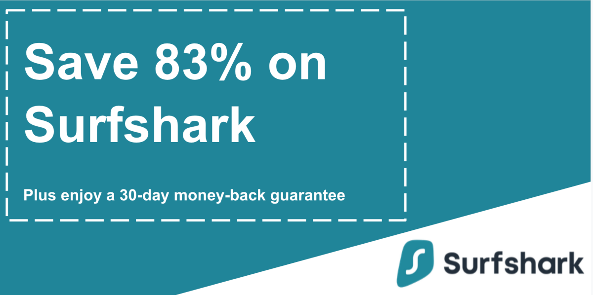 Graphic of a working Surfshark coupon with a 83% discount and 30-day money-back guarantee