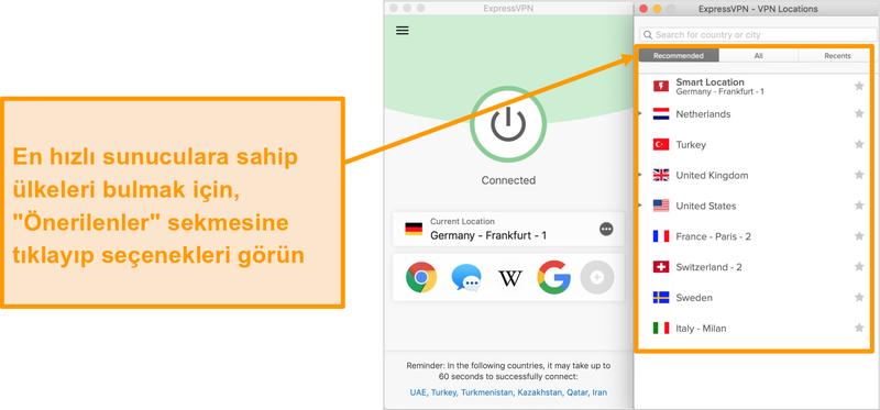 ExpressVPN uygulamasının önerilen sunucuları gösteren ekran görüntüsü
